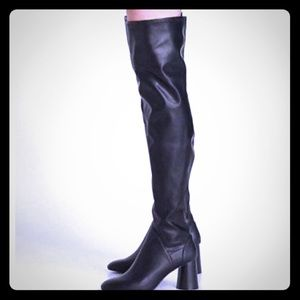 NWT Zara black leather thigh high boots